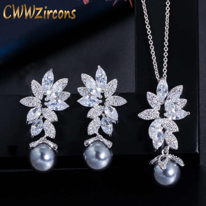 CWWZircons Chic Gorgeous Cubic Zirconia Flower Silver Color Fashion Gray Pearl Necklace Earrings Jewelry Sets for Women T346