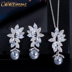 CWWZircons Chic hermosa Circonia cúbica flor Color plata moda gris perla collar pendientes juegos de joyas para mujer T346