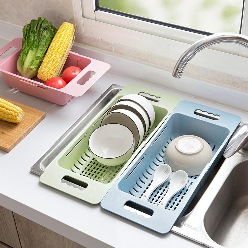 Holder Storage Vegetables Drain Rack Adjustable Sink Fruit Storage Holder Dish Home Organizer Drying Kitchen Functional Basket