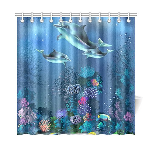 Aplysia The Underwater World With Dolphins And Plants Bathroom Accessories Shower Curtain Hooks 72 Inches In Curtains From Home Garden On