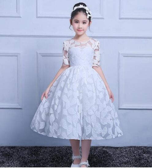 black party dresses for girls half sleeves puffy kids ball gown dress vestido de fiesta nina lace flower girls dresses 2 12 year Real Picture Ball Gown White Half Sleeves Flower Girls Dresses for Wedding Birthday Dress Girls Pageant Party Gown Size 2-16Y