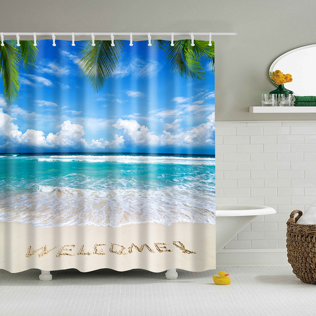In Stock Beach Shower Curtain Palm Tree Summer Pattern Fabric Design 3d Bathroom Waterproof Blue
