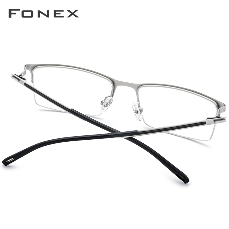 Image 4 - FONEX Alloy Glasses Frame Men Ultra Light Half Square Myopia Prescription Eyeglasses 2019 New Optical Frames Screwless Eyewear-in Men's Eyewear Frames from Apparel Accessories