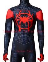 2018 Spiderman Costume Black Red Miles Morales Costume Miles Animated Version 3D Print Fullbody Halloween Cosplay