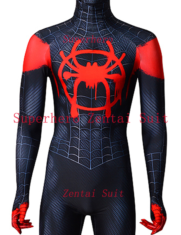 2018 Spiderman Costume Black Red Miles Morales Costume Miles Animated Version 3D Print Fullbody Halloween Cosplay Spider Suit miles morales