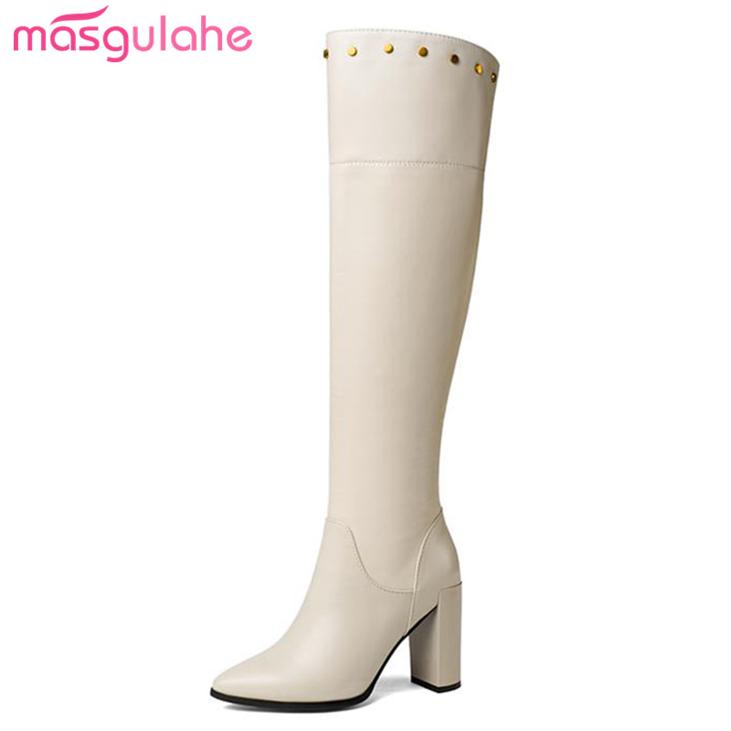 Solid Remaches Punta Zapatos Masgulahe Genuino beige Black Botas De Rodilla  En Cuero Sexy Sobre Cremallera ... f5e620b1afe
