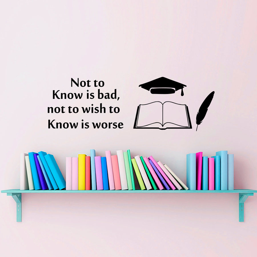 Not To Know Is Bad Writing Wall Stickers Hat Feather And Book Wall
