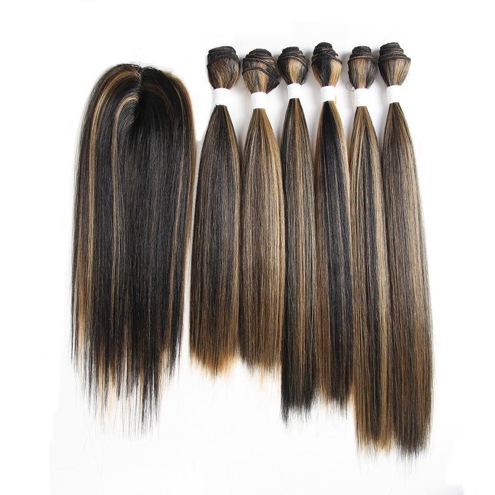 Synthetic Hair 4 Bundles With Closure Fringe Yaki Straight Ombre Burg XTRESS