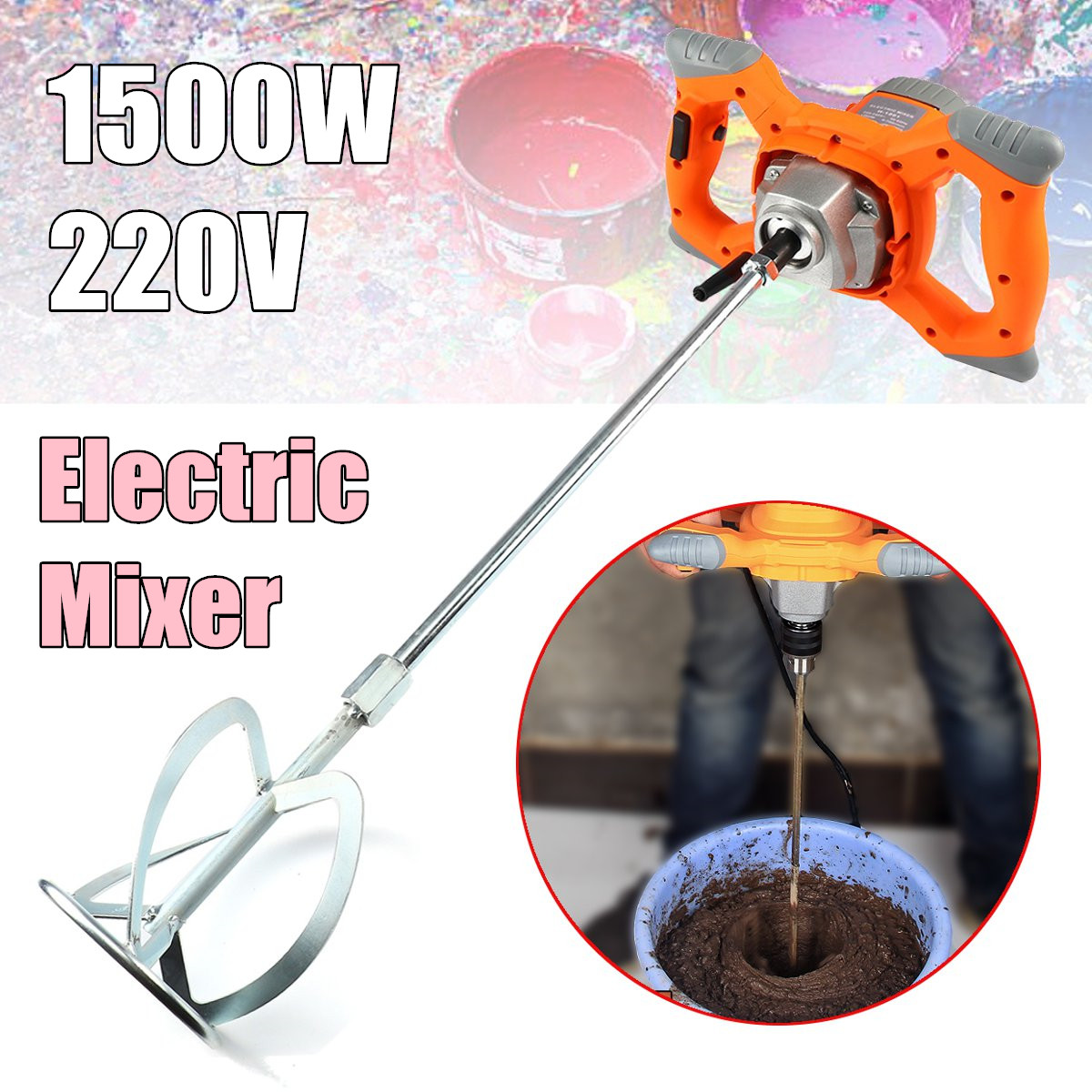 220V Industrial grade electric cement paint putty powder coating mixer 6 speed adjustable 1500W 700RPM цена