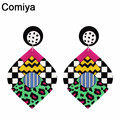 Wholesale Top Quality Hot Sale Colorfull Leaf Drop earring Ufashional Trendy Brincos jewelry dangle statement earrings for women