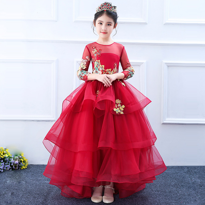 2018 Trailing Princess Dress Lace Up Party Gown Flower Girl Dresses First Communion Dress Appliques Children Ball Gown A125 цена