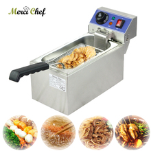 Food Machine New CE Stainless Steel Household and Commercial 6L Electric Deep Fryer Frying Machine household and commerical suit ce 2 tanks 16l electric deep fryer stainless steel frying machine commercial or household fryer