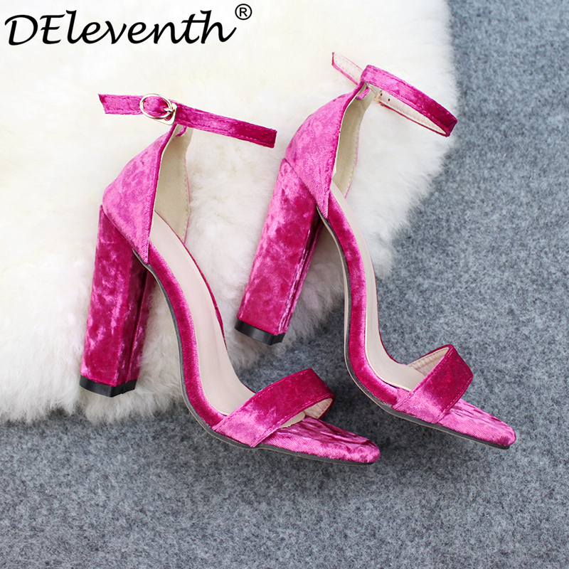 DEleventh Classics Fashion Brand ZA Woman Sandals Flannel Block Square heel Velvet High Heeled Shoes Black Rose Zapato Mujer 43