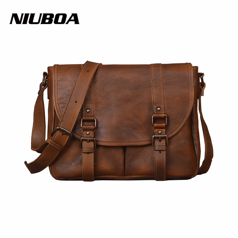 NIUBOA Genuine Leather Men Bag Retro Hand Rub Color Shoulder Crossbody Bags High Quality Casual Men's Briefcase Messenger Bags casual canvas women men satchel shoulder bags high quality crossbody messenger bags men military travel bag business leisure bag