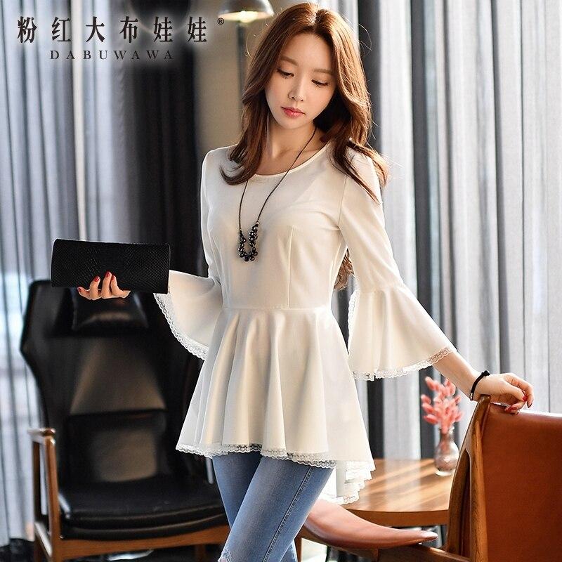 dabuwawa shirt female 2017 spring new korean ruffle hem round neck collar short long font b