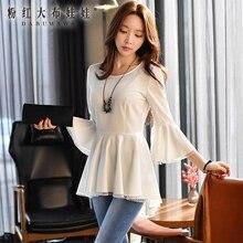 original shirt female 2017 spring new korean ruffle hem round neck collar short long blouse women