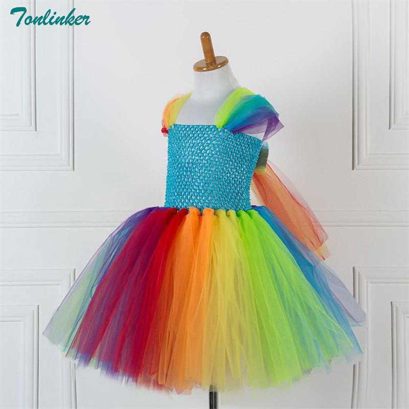 8eeabf363 ... Girls Unicorn Rainbow Tutu Dress Unicorn Pony Costume With Hair Hoop Set  for Kids Birthday Theme ...
