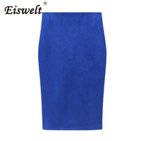 High Waist Office Skirt Women Suede Multi Color Pencil Midi Skirt Sexy Elastic Lady Bodycon Skirt