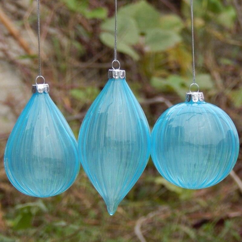 Gran embalaje cielo azul hecho a mano colgantes de cristal de Navidad pintura a mano bola de Navidad decoración del hogar - 2