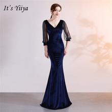 Its Yiiya Beading Evening dress Chiffon V-neck long sleeve party gowns Floor-length zipper back Mermaid sexy prom dresses C114
