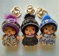 Fashion 2016 Monchichi Cartoon Keychain for Keys Women Cute Key Chains Rhinestone Crystals Bag & Car Accessories