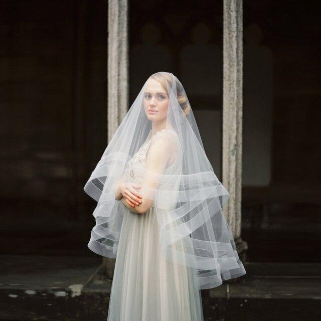 2016 Fotos Reais De Casamento Véu broadside Avançada afiação moda do Laço do vintage Véu de Noiva Acessórios Do Casamento Véu De Noiva
