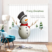 New Europe Blackout Curtains Fabric 3D for Living Room Cartoon Christmas Snowman Pattern Polyester Children