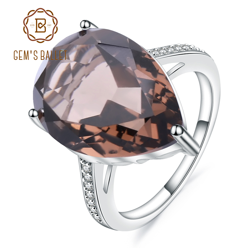Gem's Ballet 10.68ct Natural Smoky Quartz Gemstone Cocktail Rings For Women 925 Sterling Silver Engagement Ring Fine Jewelry