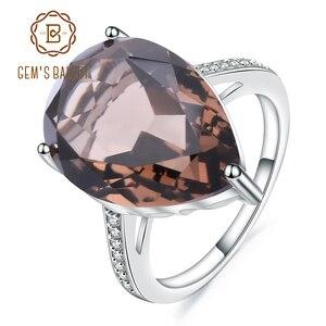Image 1 - Mücevher bale 10.68ct doğal dumanlı kuvars taş kokteyl yüzük kadınlar için 925 ayar gümüş nişan yüzük güzel takı