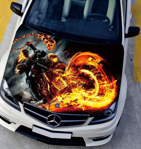 Custom Car Decal >> LEFT SIDE Car Stickers Flame Motorcycle Fire Engine Hood ...