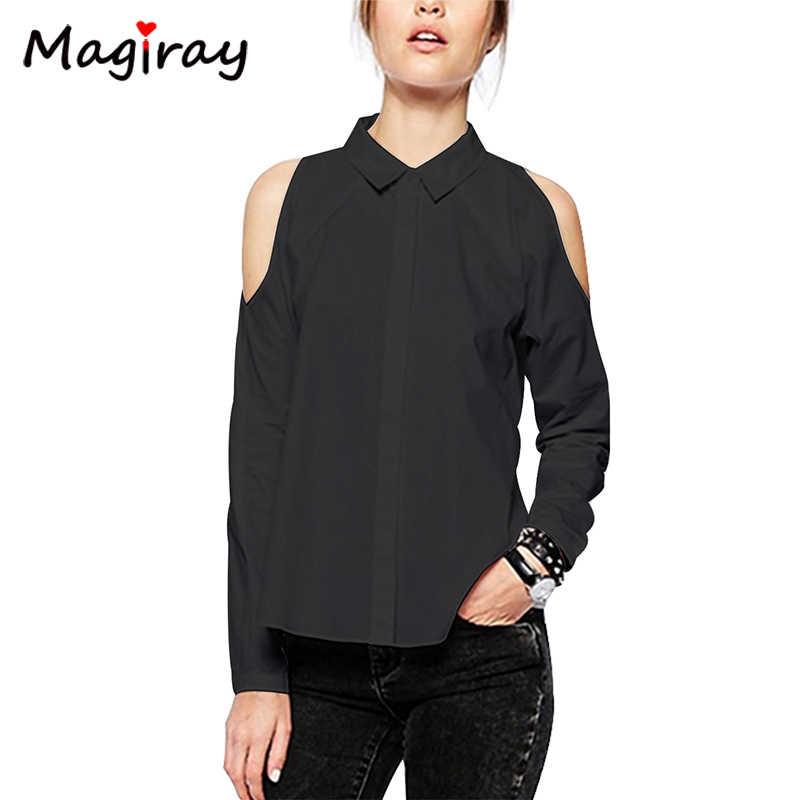 Magiray 長袖オフ土塊ショルダーシャツ女性のボタンダウン白ブラウス黒カジュアル 2019 緩い夏の女性トップス