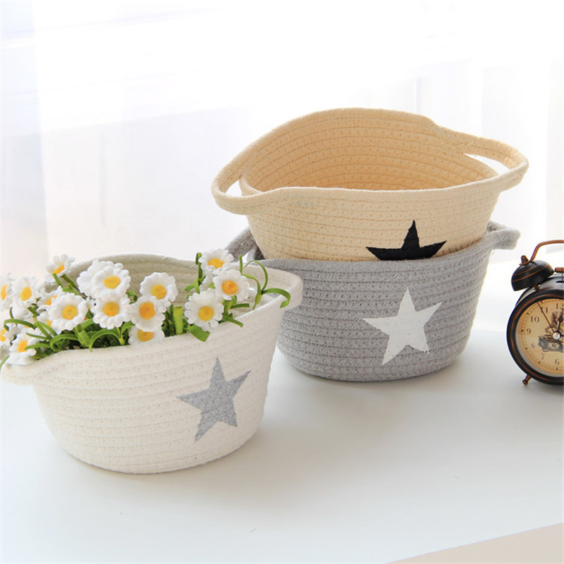 ROSEHOME Cotton Rope Woven Desktop Storage Box Stars Printed Jewelry Holder Cosmetics Toys Food Snacks Underwear Organizer