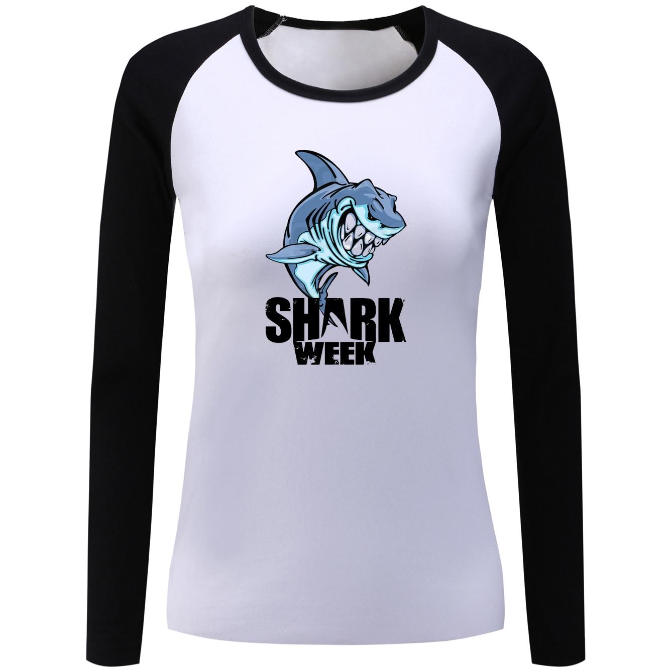 Design t shirt sample - Women S Girl S Shark Week Shark Design Raglan Long Sleeve T Shirt Sample Style T Shirts Loose Casual Tshirt Lady Plus Size Xxl