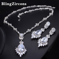 BlingZircons Top Quality AAA Cubic Zirconia Earrings And Necklace Women Costume Jewelry Sets For Bridal Wedding