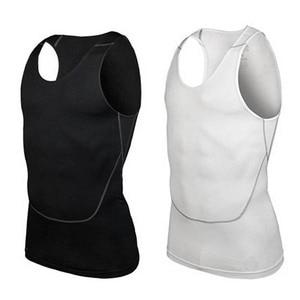 Мужская рубашка под кожу, компрессионный эластичный базовый слой, топ без рукавов, спортивная одежда