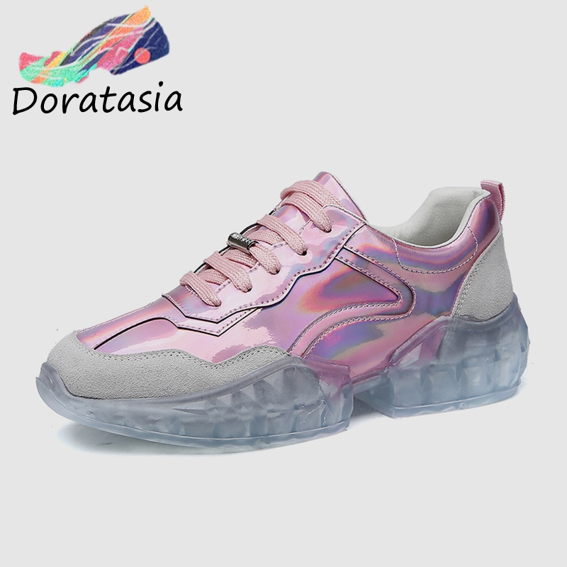 DORATASIA 2019 INS Hot Girl Shining Sneakers Women Genuine   Leather     Suede   Flat Platform Shoes Woman Causual Women Flats Shoes