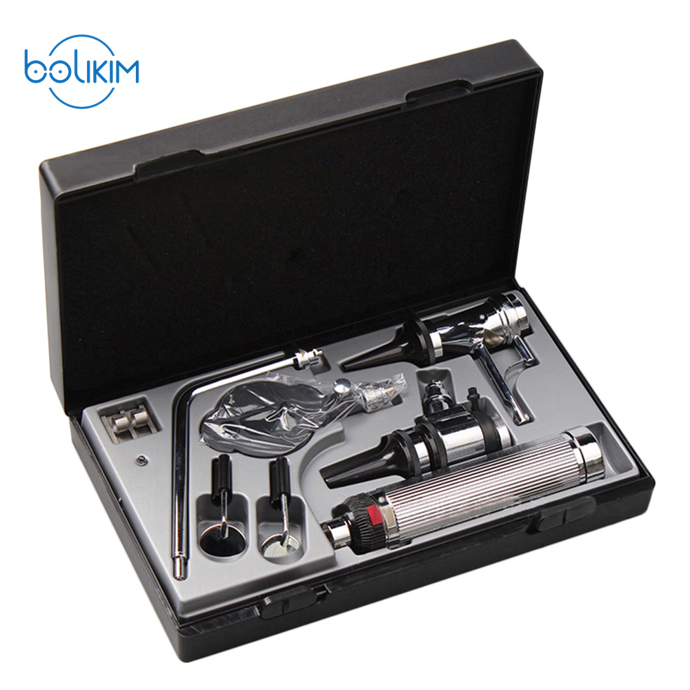 BOLIKIM Professional Otoscopio Diagnositc Kit Medical Ear Care LED Portable Otoscope Nose Care Mouth Care 3x professional fiber optic medical otoscope physician earcare diagnostic ent kit halogen illumination light hs ot10 with box