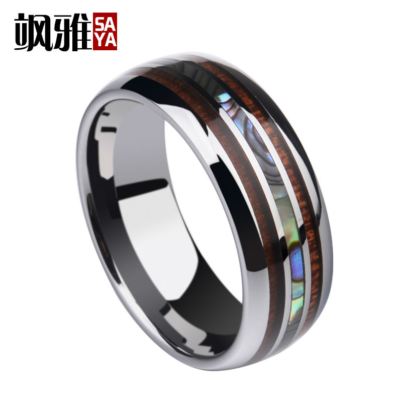 купить New Arrival Saya Brand 8MM Tungsten Man's Ring Dome Band Inlay Koa Wood and Two PCS Mother of Pearl for Man's Party Jewelry по цене 1957.65 рублей