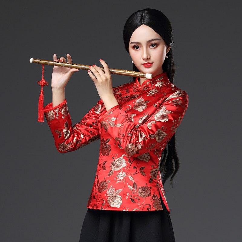 Mince Veste Hanfu Style 3xl Manteau Haut Femmes Rouge rembourré Vintage À Formelle Améliorée Chinois Tang Manches Traditionnel Longues Outwear Coton wS7xUZ6qXX