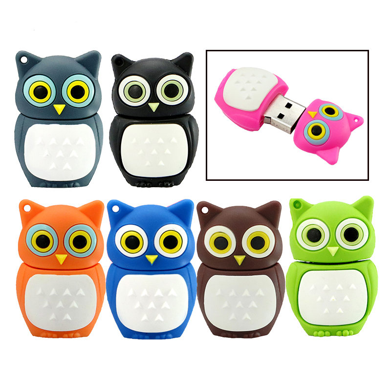 USB Flash Drive 64GB Cute Animal Cartoon Owl Usb 2.0 4GB 8GB 16GB 32GB 128GB Pen Drive Usb Memory Creative Mini Pendrive Gift