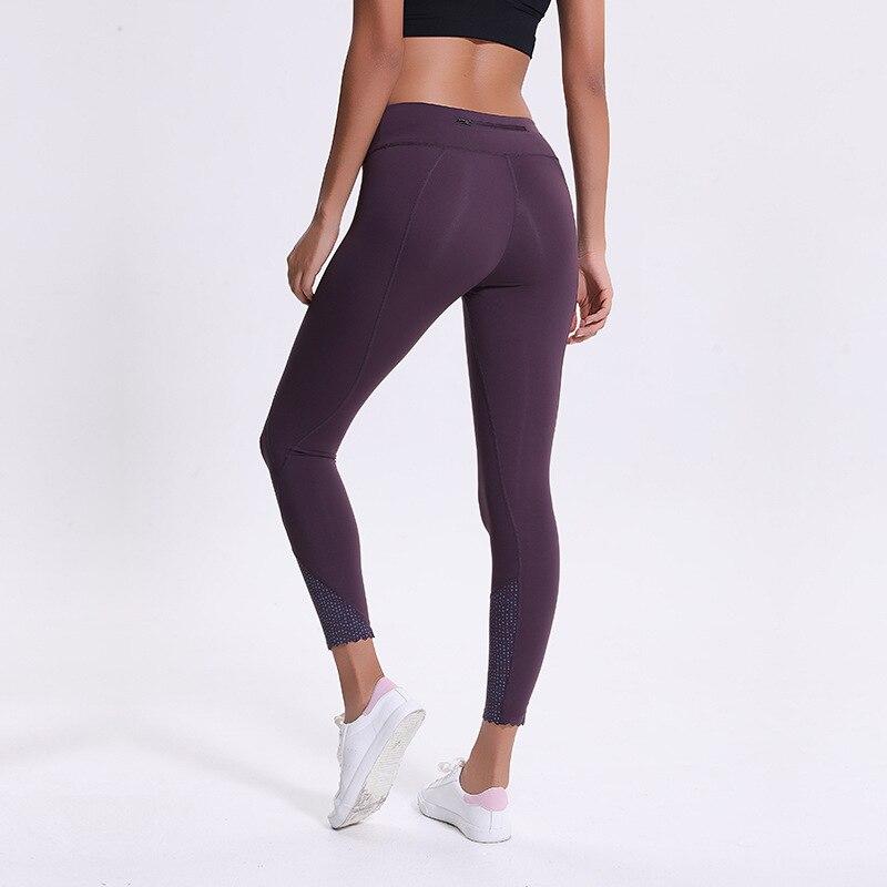 2cf90c1ba69ef Women capris sports gym crop sexy tummy control reflective running leggings  super quality 4 way stretch