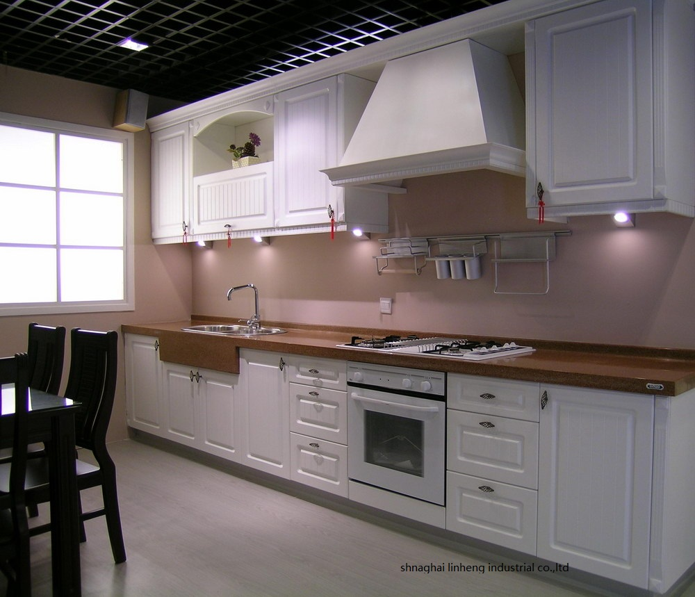 PVC/vinyl Kitchen Cabinet(LH-PV049)