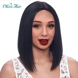 Image 1 - Sentetik Peruk Kısa Siyah Bobo için Peruk Saç Kadın Saç Stili Düşük Sıcaklık Fiber Düz Kesim Saç Peruk Kadınlar için
