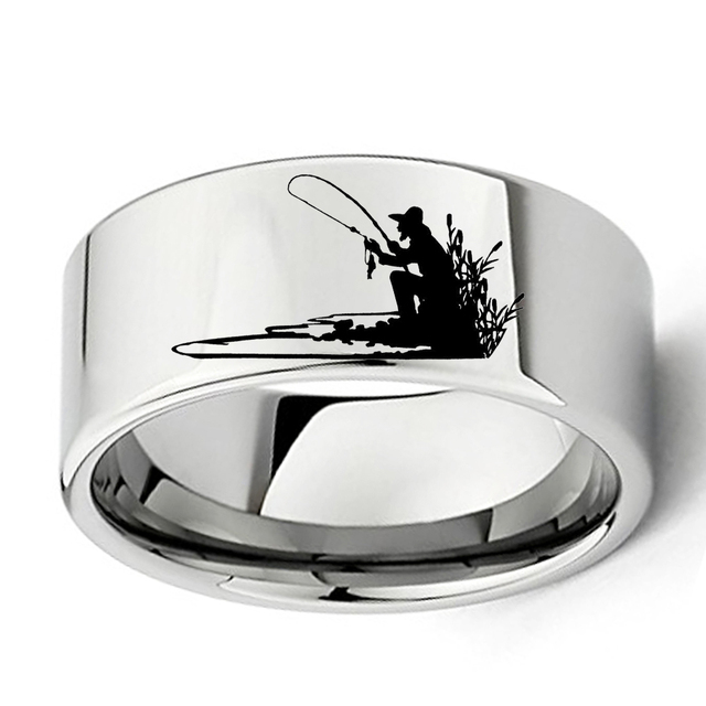 Wholesale Engraved Fisherman Silhouette Ring for Fishing Lovers 11mm