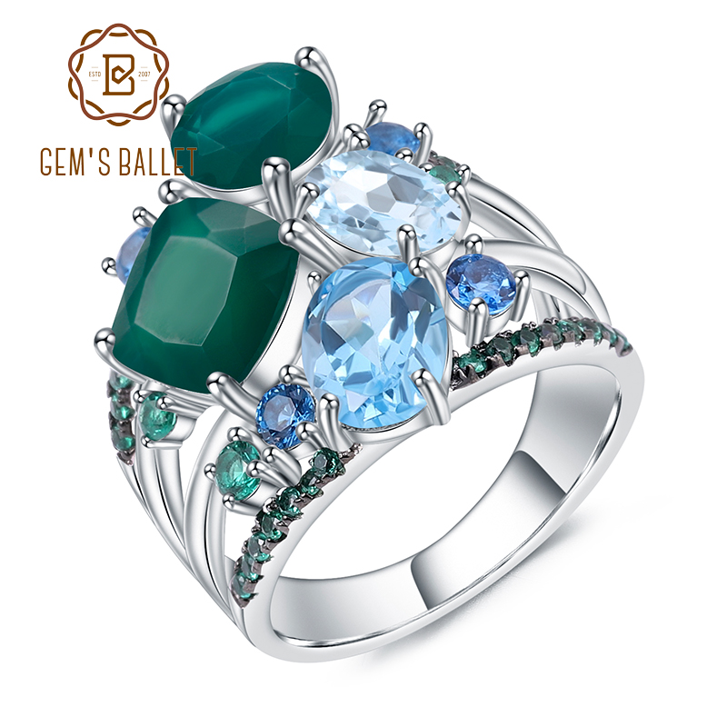 GEM'S BALLET 925 Sterling Silver Stack Rings Natural Green Agate Topaz Gemstones Finger Ring For Women Wedding Fine Jewelry