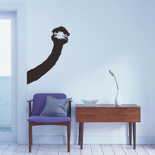 Creative Ostrich head Removable Wall Stickers Living Room Hallway  Decorative DIY Home Decor Supplies House Decals - Aliexpress.com : Buy Creative Ostrich Head Removable Wall Stickers