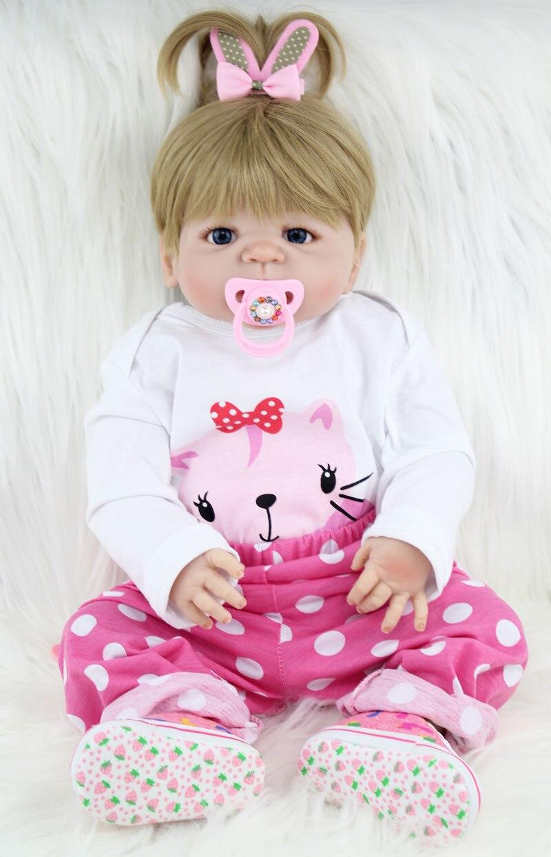 55 см полный силиконовые средства ухода за кожей Bebe Reborn платье для малышей, девочек 22 винил новорожденных принцесса кукла прекрасный подаро...