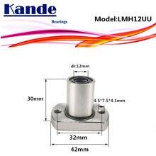 LMH12 UU 1 unids/lote LMH12UU, brida redonda de rodamiento lineal de 12mm LMH12 para impresora 3D SMH12UU rodamientos Kande