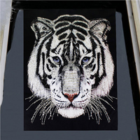 Large Tiger Head Patch Beaded Clothes Patches for Clothing Sew on Embroidery Applique Crafts Sewing Supplies 1pc TH1715