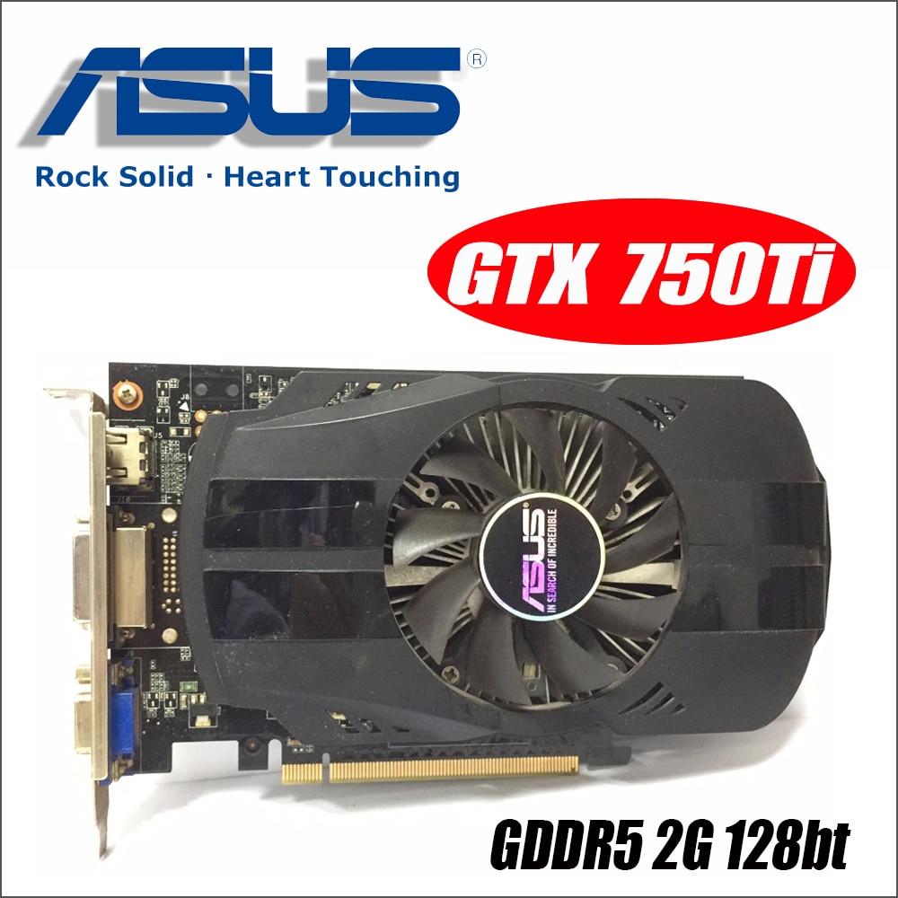 Asus GTX-750TI-OC-2GB GTX750TI GTX 750TI 750 2g D5 DDR5 128 Peu PC De Bureau Cartes Graphiques PCI Express 3.0 ordinateur vidéo